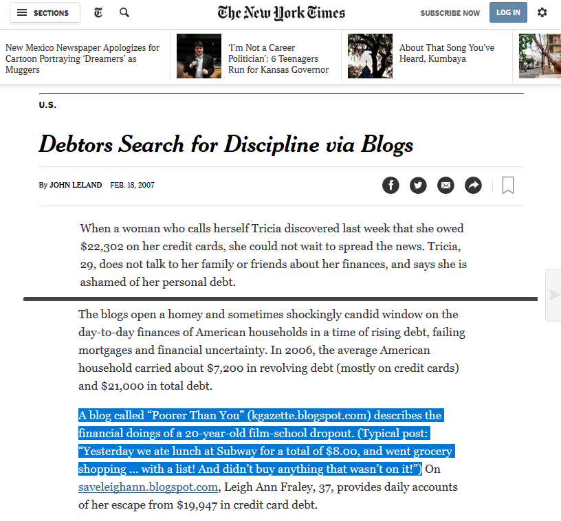 "Poorer Than You featured in the New York Times article ""Debtors Search for Discipline via Blogs"""