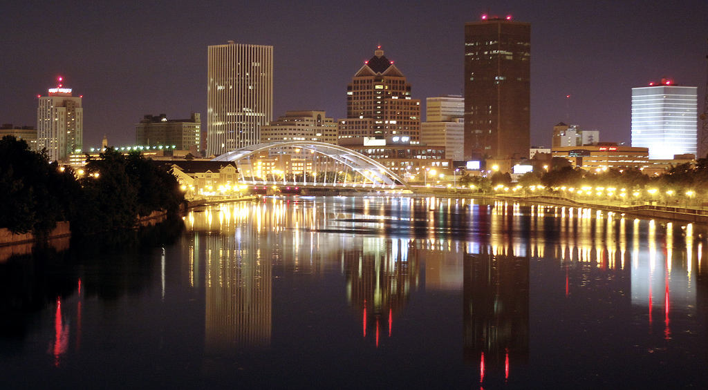 Rochester lights at night