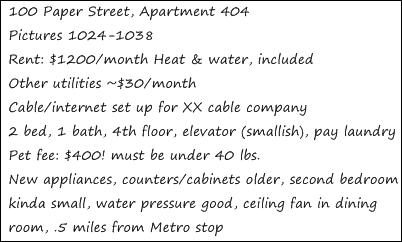 Apartment Score Card