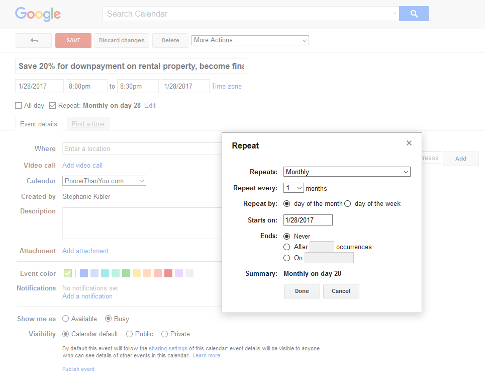 Repeating Monthly on the 28th, Your New Years Resolution on Google Calendar