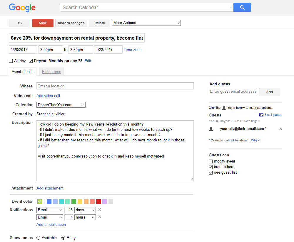 Use a repeating Google Calendar event to keep your New Year's resolution