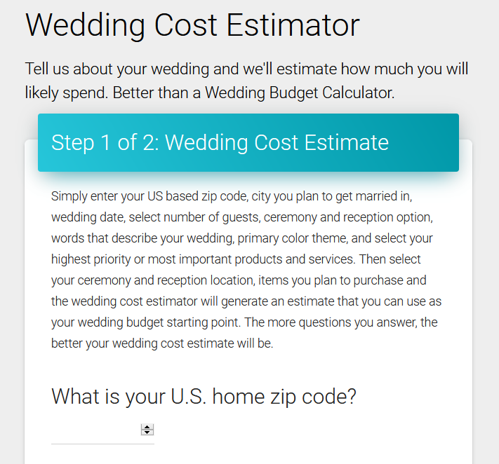 Wedding Cost Estimator Tool from Wedding Report - Screenshot of the tool