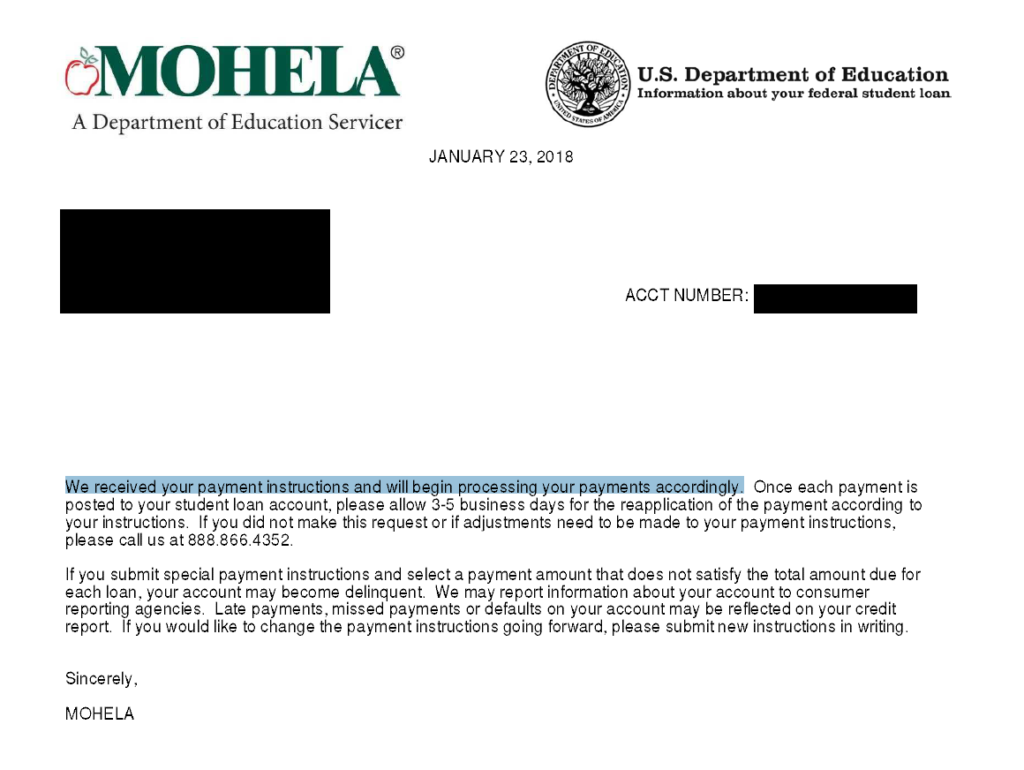 MOHELA Letter Confirming Standing Payment Instructions