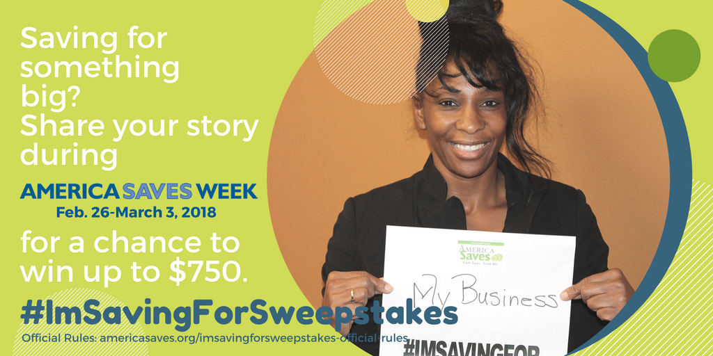 Win up to $750 plus a bonus $100 gift card with the America Saves #ImSavingForSweepstakes