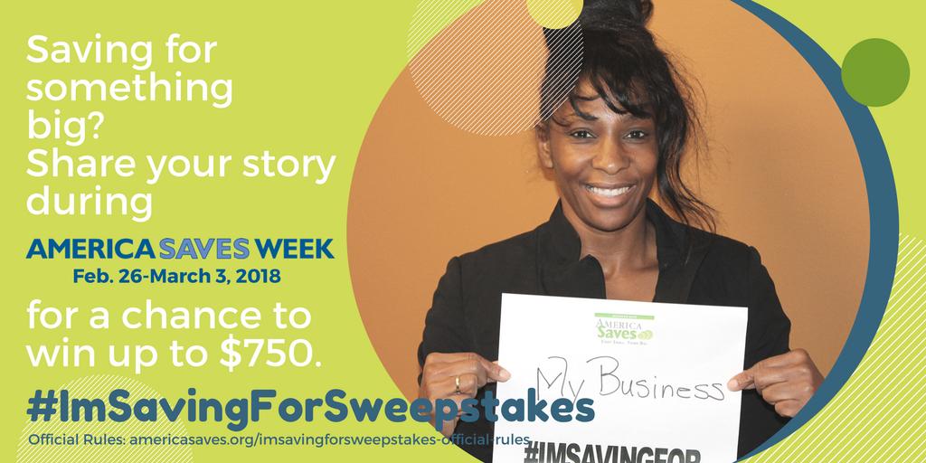 Win up to $750 plus a bonus $100 gift card with the America Saves #ImSavingForSweepstakes