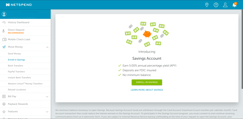 NetSpend 5% Interest Savings Account Enrollment