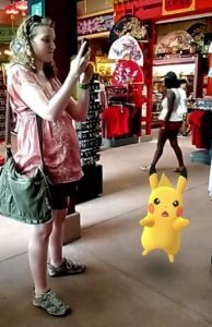 2016 Stephonee catching Pikachu at Walt Disney World