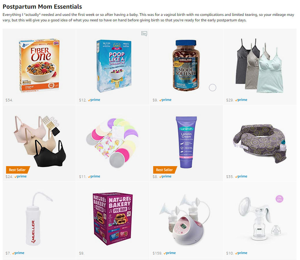Postpartum Essentials on Amazon